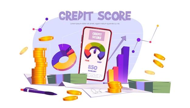 Мобильное приложение для кредитного рейтинга со шкалой от плохого до хорошего. векторный баннер с карикатурой с ссудным счетчиком на экране смартфона, график и деньги Бесплатные векторы