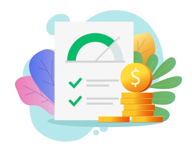 Credit score rank report paper document with money Premium Vector