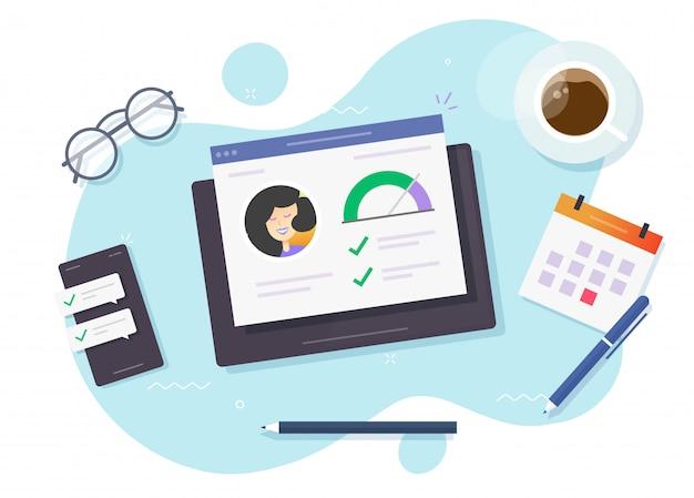 信用スコアの評価とローンランクの財務報告はオンラインで調査をチェックします Premiumベクター