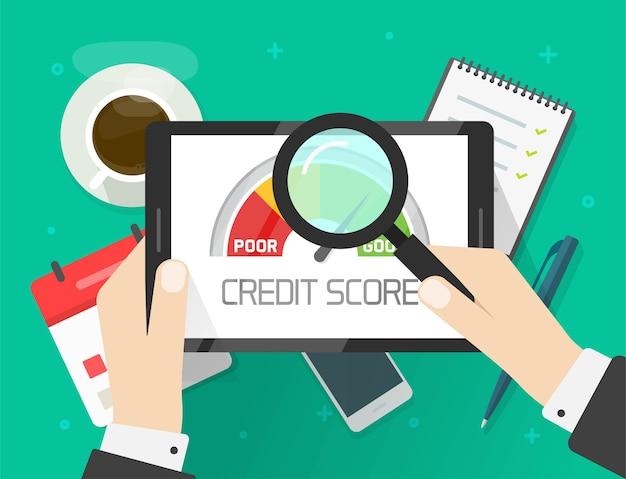 Проверка анализа отчета о кредитном рейтинге, концепция бухгалтерской информации о финансовой истории исследования человека Premium векторы