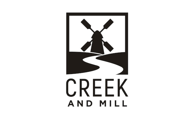 Creek and mill logo design inspiration Premium Vector