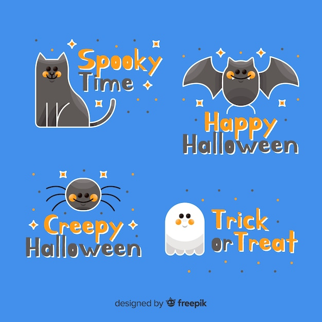 Creepy animals and ghost label and badge collection Free Vector