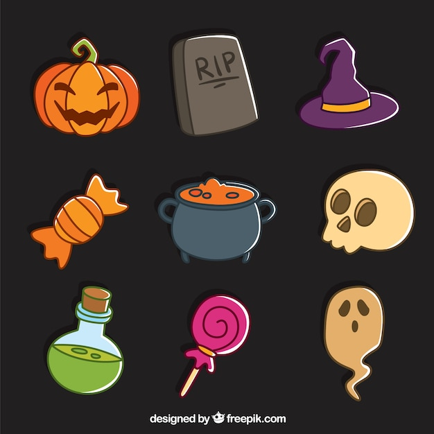 Creepy articles ready for halloween Free Vector