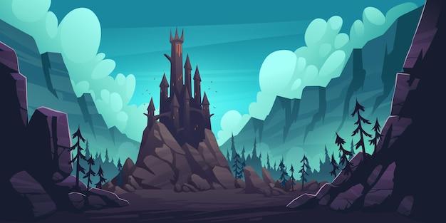 Raccapricciante castello sulla roccia di notte, palazzo gotico infestato in montagna, edificio con tetti a torre appuntiti, finestre luminose e pipistrelli che volano nel cielo scuro. fantasy dracula home, fumetto illustrazione vettoriale Vettore gratuito