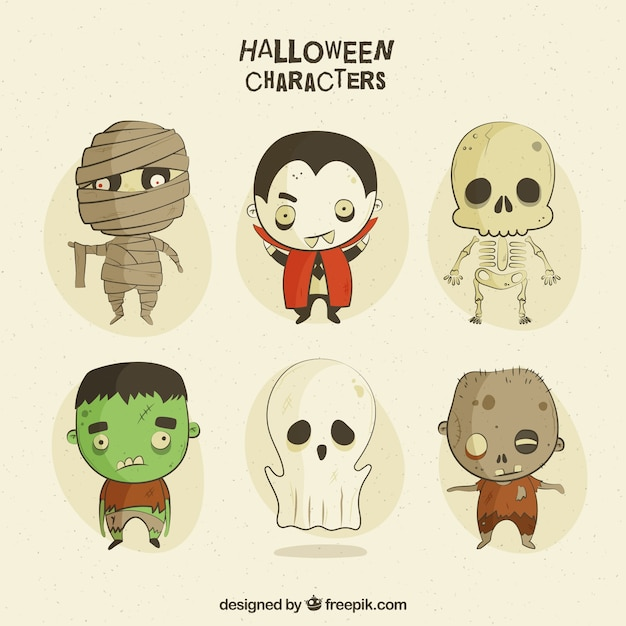Creepy characters in vintage style Free Vector