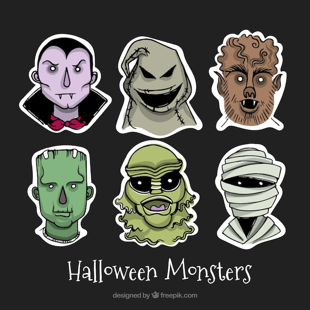 Creepy collection with halloween monsters Vector | Free Download