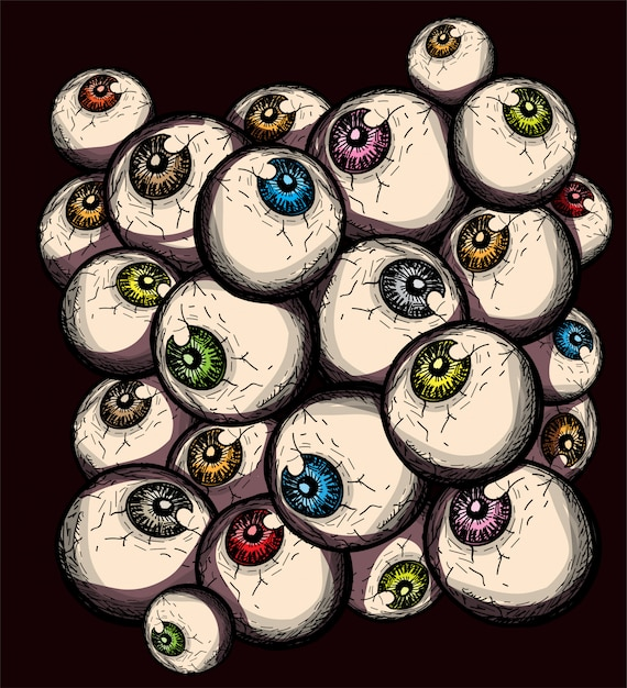 Creepy eyeballs doodle simple hand drawing decorative halloween background Premium Vector