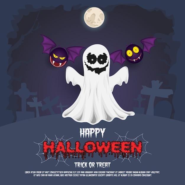 ハロウィーンの不気味な幽霊とコウモリ Premiumベクター
