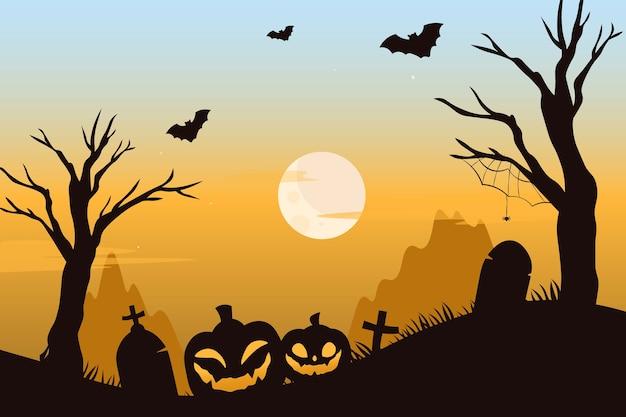 무서운 호박과 박쥐가있는 오싹한 묘지 프리미엄 벡터