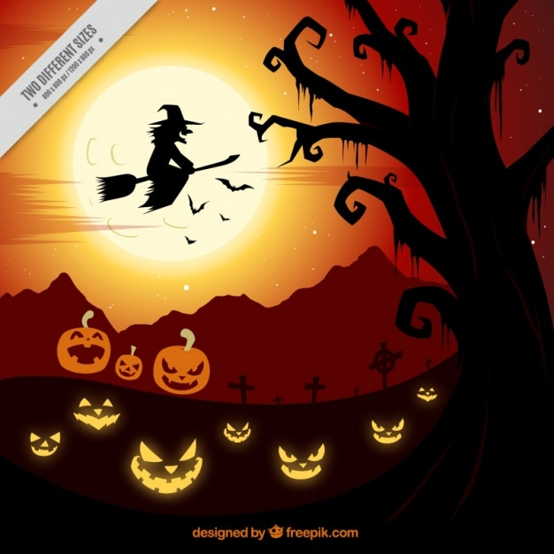 creepy halloween background with a witch and pumpkins 23 2147571753