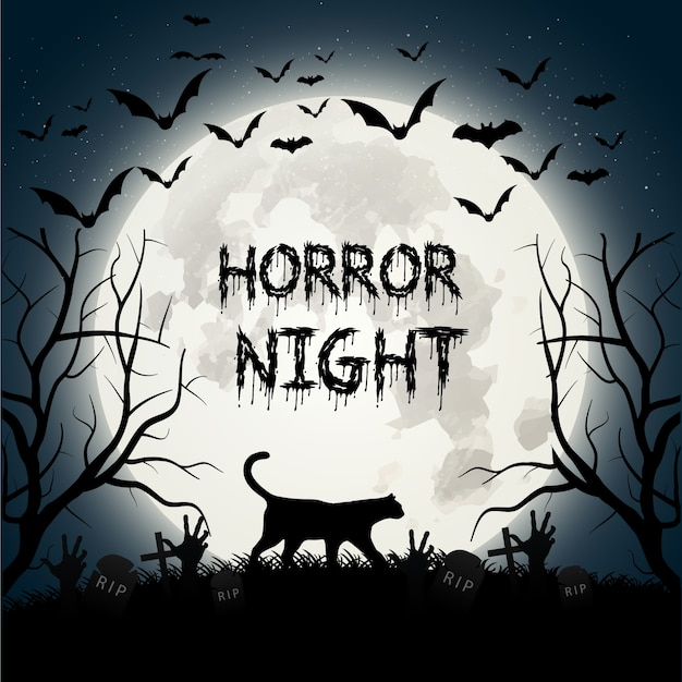 Creepy halloween background with a cat and bats Free Vector