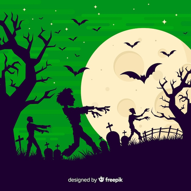 Creepy halloween background with flat design Premium Vector