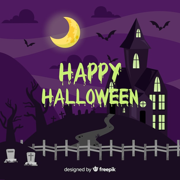 Creepy halloween background with flat design Free Vector