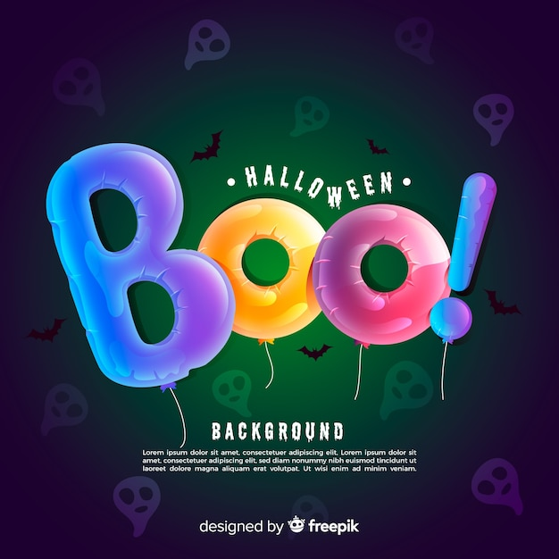 Creepy halloween background with realistic design Free Vector