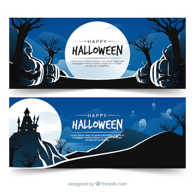 Creepy halloween banners with flat design Free Vector