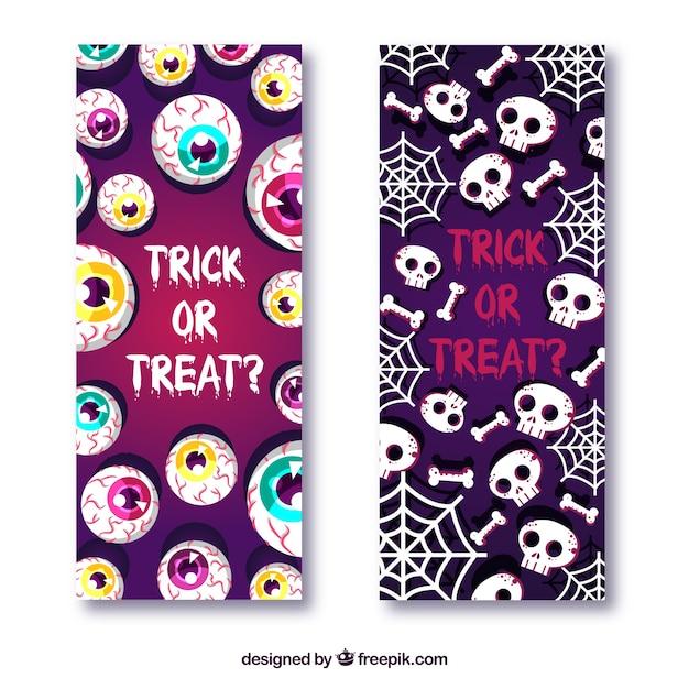Free Vector | Creepy halloween banners