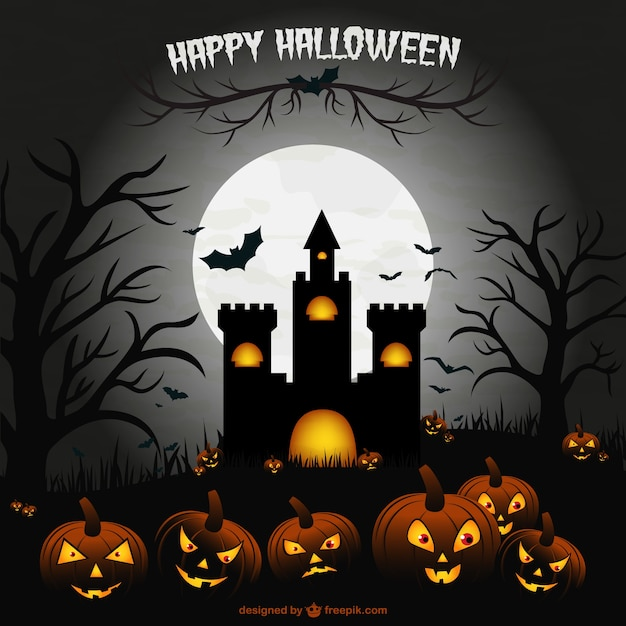 Creepy halloween castle illustration\ scene