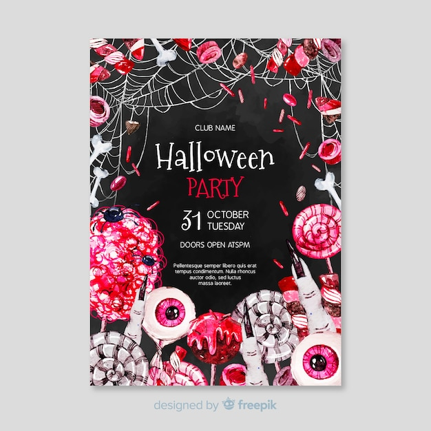 Creepy halloween elements party poster Free Vector