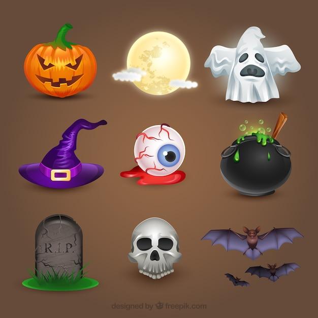 Creepy halloween elements Premium Vector