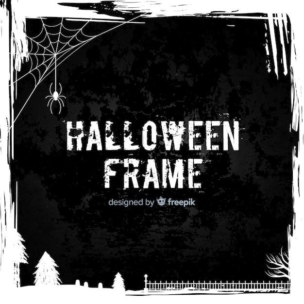 Creepy halloween frame with flat design Free Vector
