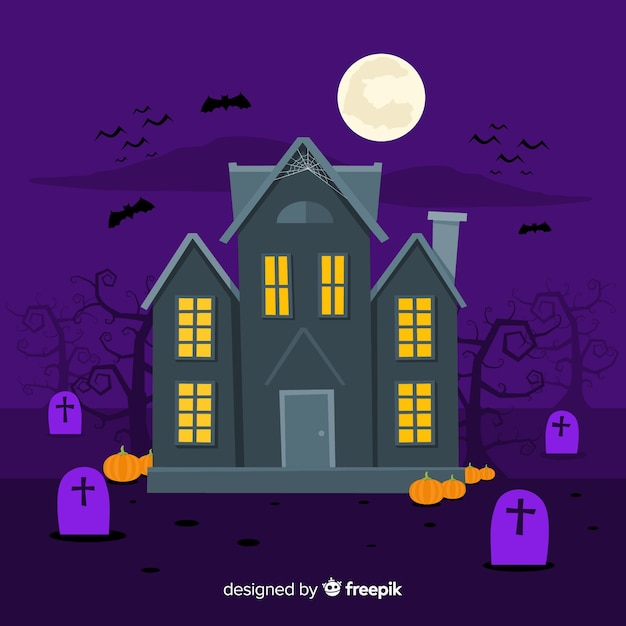 creepy halloween haunted house with flat design free vector