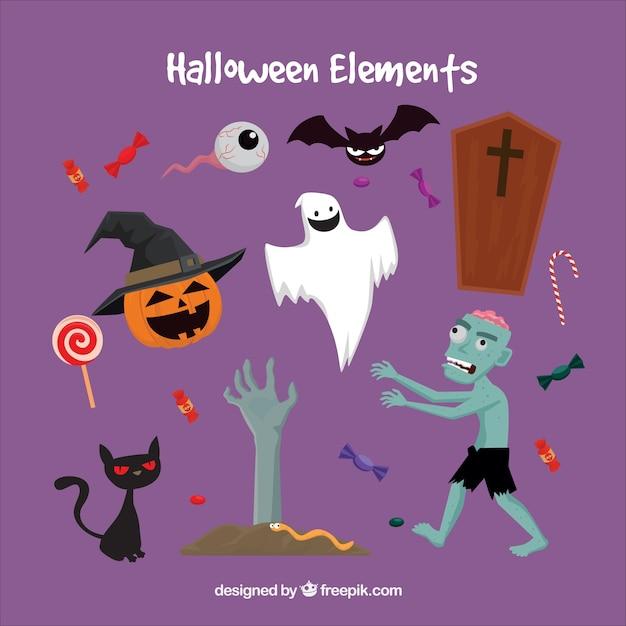 creepy halloween items free vector - Halloween Items