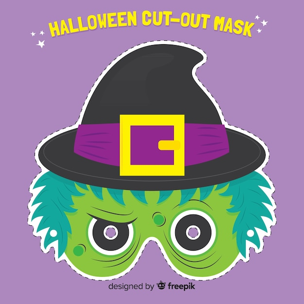 Creepy halloween mask with flat design Free Vector