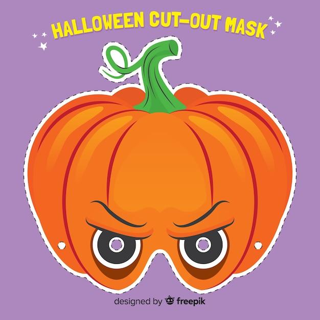 Creepy halloween mask with flat design Free Vector