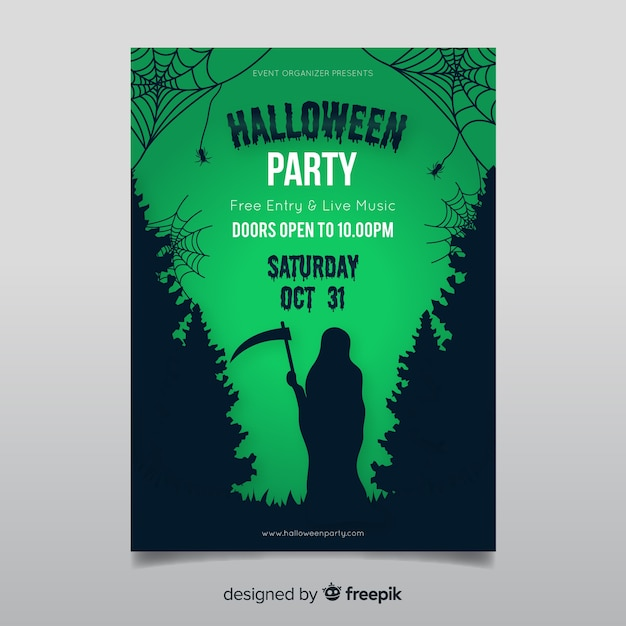Creepy halloween party poster template with flat design Free Vector