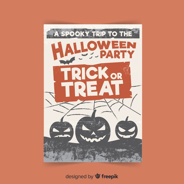 Creepy halloween party poster with flat design Free Vector
