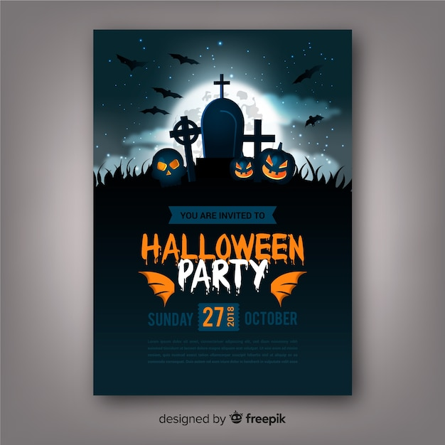 Creepy halloween party poster with realistic design Free Vector