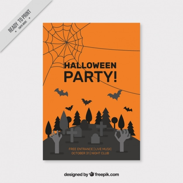 creepy halloween poster with a cemetery vector free download