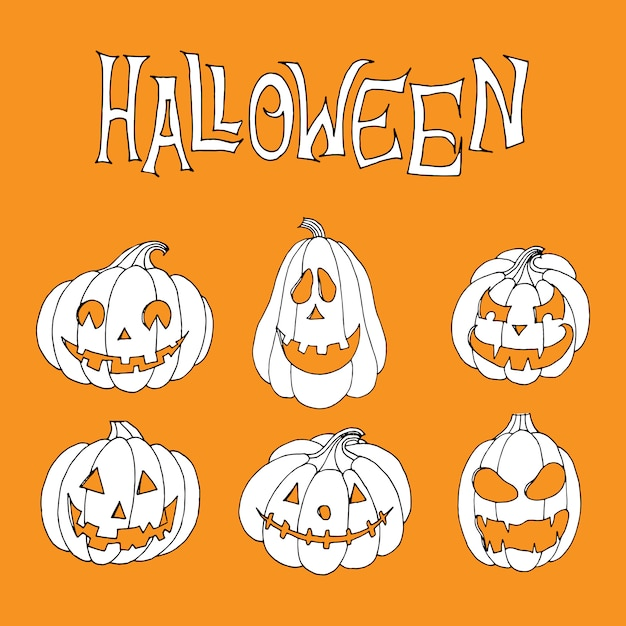 Creepy halloween pumpkin collection Premium Vector