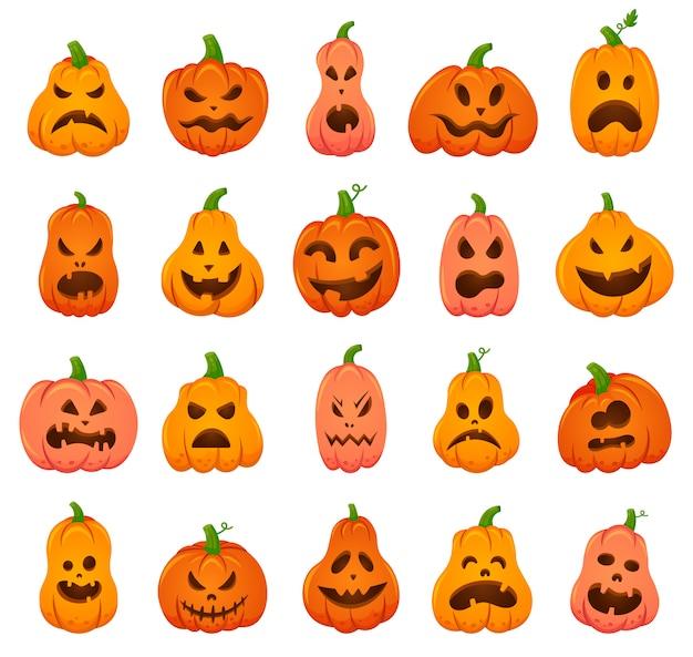 Жуткие тыквы на хэллоуин. мультфильм оранжевая тыква традиционное праздничное украшение, страшный, жуткий набор иконок иллюстрации тыквы. улыбка хэллоуин страшная тыква Premium векторы