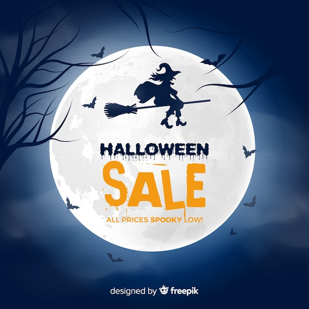 Creepy halloween sale composition with flat design Free Vector