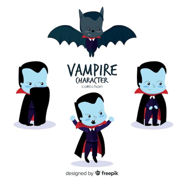 Creepy halloween vampire character collection Free Vector