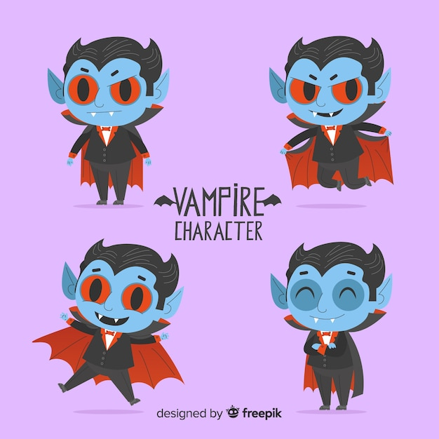 Creepy halloween vampire character collection Free Vector