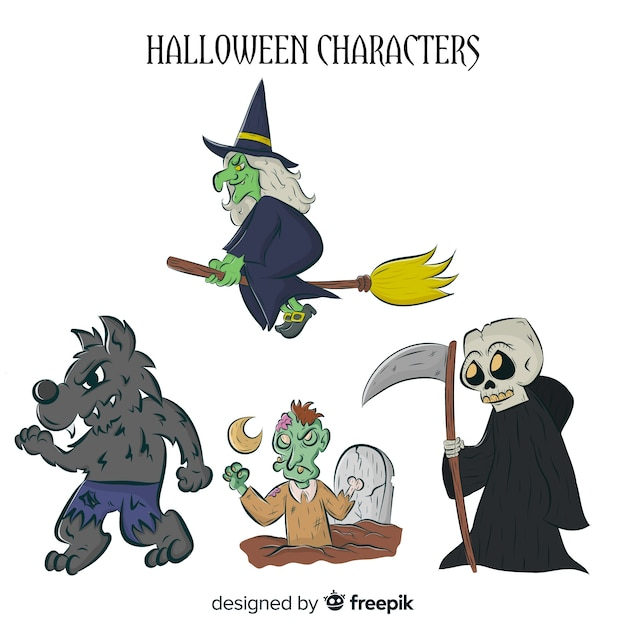 Creepy hand drawn halloween character collection Free Vector