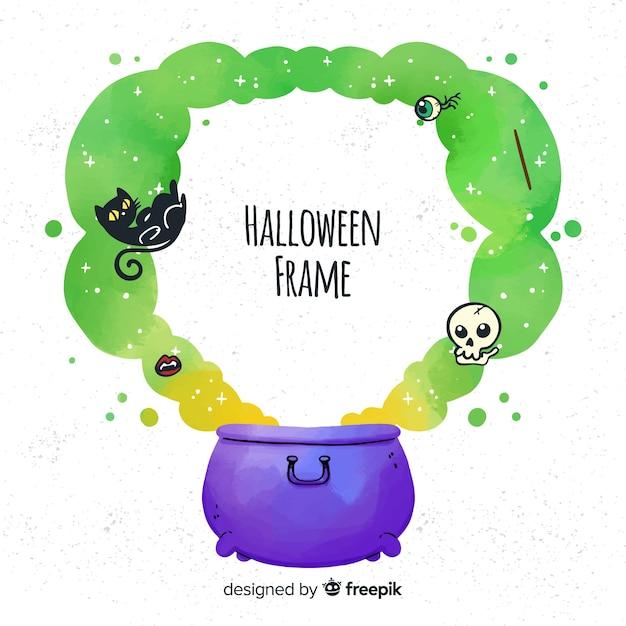 Creepy hand drawn halloween frame Free Vector