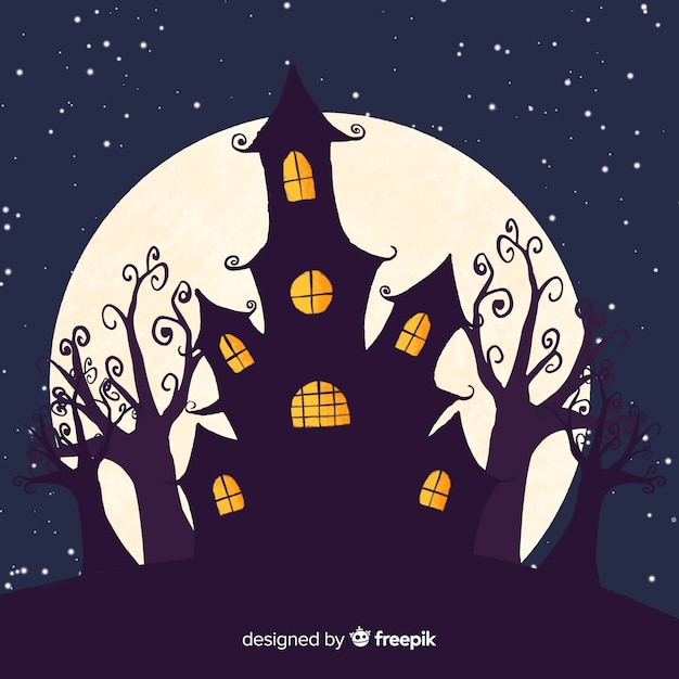 Creepy hand drawn halloween haunted house Free Vector