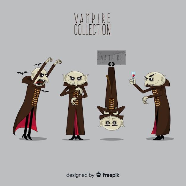 Creepy hand drawn halloween vampire character collection Free Vector