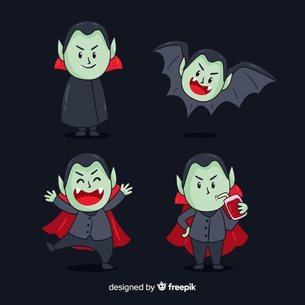 Creepy hand drawn vampire character collection Free Vector