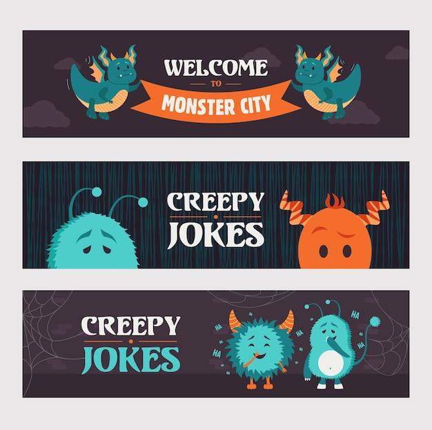 파티를위한 소름 끼치는 농담 배너 디자인. 어두운 배경에 귀여운 괴물과 생물. 할로윈과 휴가 개념. 포스터, 홍보 또는 웹 디자인을위한 템플릿 무료 벡터