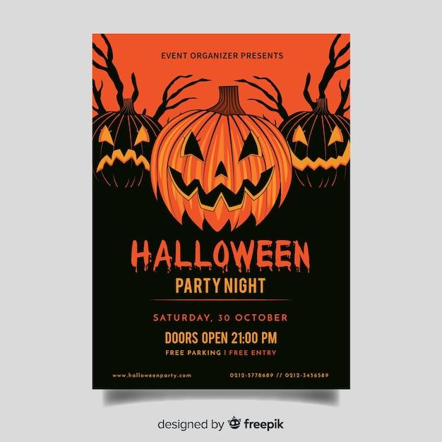 Creepy orange pumpkins halloween party flyer Free Vector