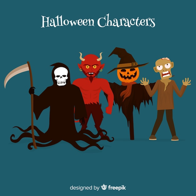 Creepy set of halloween characters with flat design Free Vector