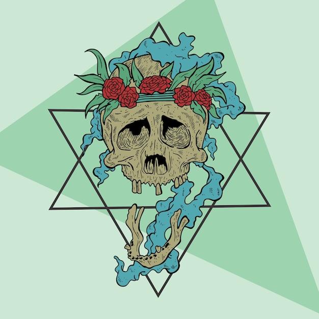 Creepy skull Premium Vector
