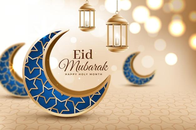 Free Vector Crescent Blue Moons Realistic Eid Mubarak