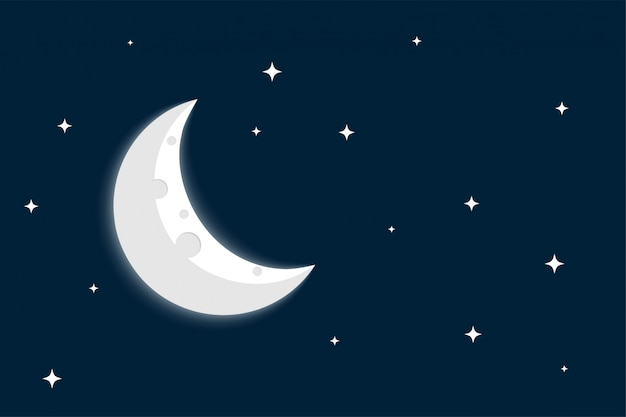 Crescent moon and stars on clear sky background Free Vector