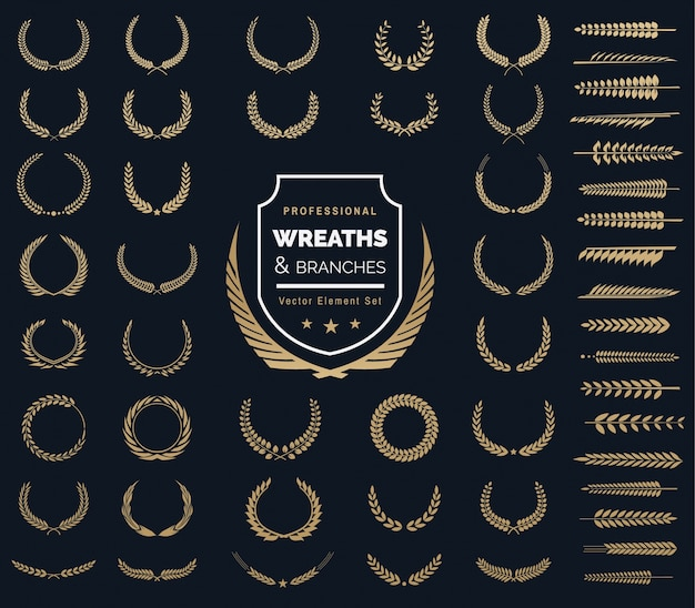 Crests logo element set.heraldic logo,vintage laurel wreaths, logo design elements Premium Vector