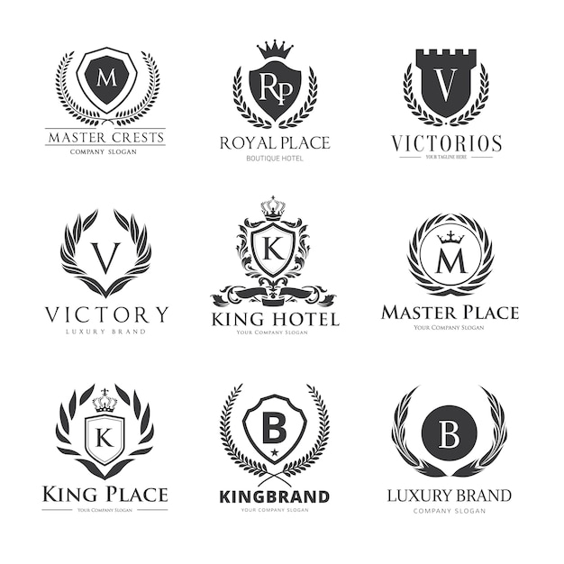 Crests logo luxury logo set design for hotel real estate for Luxury hotel logo